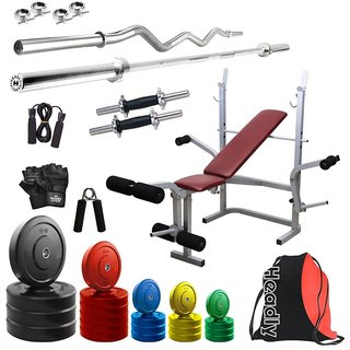 Headly Premium 100Kg Coloured Home Gym + 14 Dumbbells + 2 Rods + Imported 6 In 1 (Inclined/ Declined/ Flat/ Leg Extension/ Leg Press/ Chest Fly) Multipurpose Bench + Gym Backpack Assorted + Accessories
