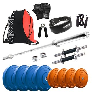 Headly Premium 16 Kg Coloured Home Gym + 4 feet plain Rod (Shoulder/Bicep) + 14 Dumbbells + Gym Backpack Assorted + Gym Belt + Accessories