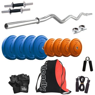 Headly Premium 16 Kg Coloured Home Gym + 14 Dumbbells + Curl Rod + Gym Backpack Assorted + Accessories