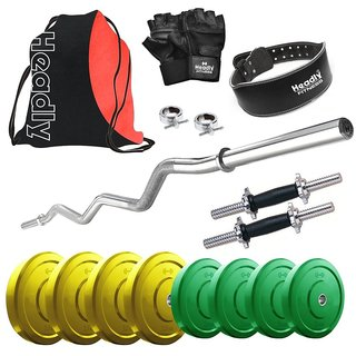 Headly Premium 18 Kg Coloured Home Gym + 14 Dumbbells + Curl Rod + Gym Backpack Assorted + Gym Belt + Accessories
