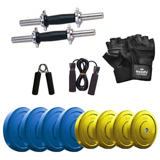 Headly Premium 22 Kg Coloured Rubber Weight +14 Dumbbell Rods  + Accessories
