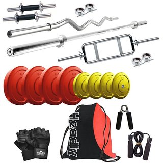 Headly Premium 30 Kg Coloured Home Gym + 14 Dumbbells + 3 Rods + Gym Backpack Assorted + Accessories