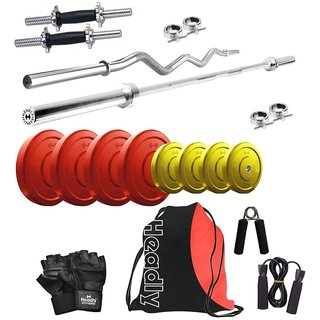 Headly Premium 30 Kg Coloured Home Gym + 14 Dumbbells + 2 Rods + Gym Backpack Assorted + Accessories