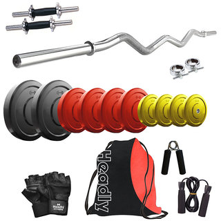 Headly Premium 50 Kg Coloured Home Gym + 14 Dumbbells + Curl Rod + Gym Backpack Assorted + Accessories