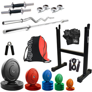 Headly Premium 52Kg Coloured Home Gym + 14 Dumbbells + 2 Rods + Rod Stand + Gym Backpack Assorted + Accessories