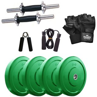 Headly Premium 8 Kg Coloured Rubber Weight +14 Dumbbell Rods with Star Nuts  + Accessories