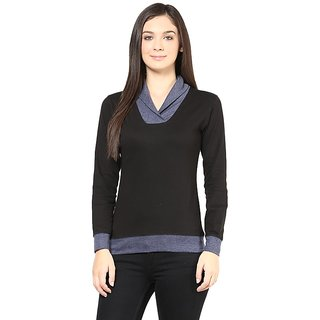 Hypernation Shawl Collar Black Body With Light Grey Collar And Rib Cotton Tshirt