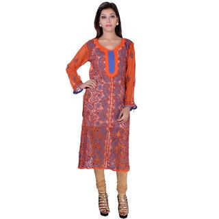 Lucknowi Georgette orange Anarkali Kurti