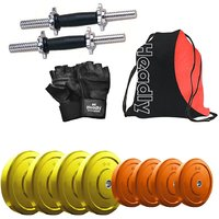 Headly Premium 14 Kg Coloured Rubber Weight +14 Dumbbell Rods + Gym Backpack + Accessories