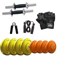 Headly Premium 14 Kg Coloured Rubber Weight +14 Dumbbell Rods  + Accessories