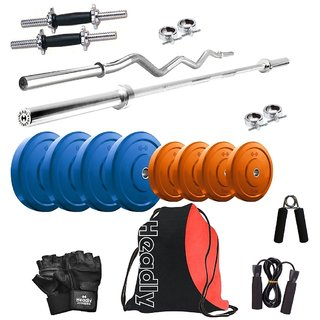 Headly Premium 16 Kg Coloured Home Gym + 14 Dumbbells + 2 Rods + Gym Backpack Assorted + Accessories