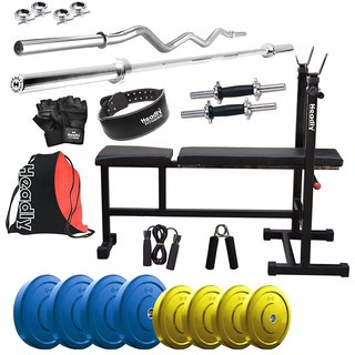 Headly Premium 22 KgColoured Home Gym + 14 Dumbbells +3 In 1(I/D/F) Bench + 2 Rods + Gym Belt + Gym Backpack Assorted + Accessories