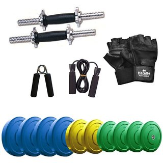 Headly Premium 25 Kg Coloured Rubber Weight +14 Dumbbell Rods with Star Nuts  + Accessories