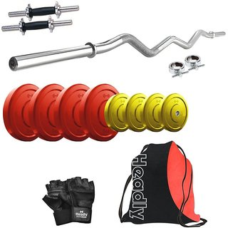 Headly Premium 30 Kg Coloured Home Gym + 14 Dumbbells + Curl Rod + Gym Backpack Assorted + Accessories