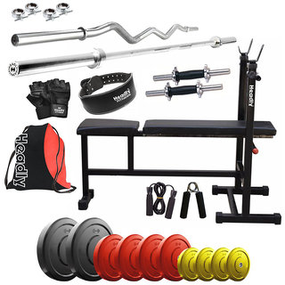 Headly Premium 50 Kg Coloured Home Gym + 14 Dumbbells + 2 Rods + 3 In 1 (I/D/F) Bench+ Gym Backpack Assorted +Gym Belt + Accessories