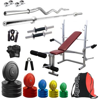 Headly Premium 90Kg Coloured Home Gym + 14 Dumbbells + 2 Rods + Imported 6 In 1 (Inclined/ Declined/ Flat/ Leg Extension/ Leg Press/ Chest Fly) Multipurpose Bench + Gym Backpack Assorted + Accessories