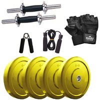Headly Premium 10 Kg Coloured Rubber Weight +14 Dumbbell Rods With Star Nuts  + Accessories