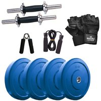 Headly Premium 12 Kg Coloured Rubber Weight +14 Dumbbell Rods  + Accessories