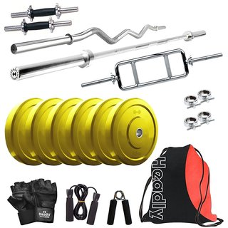 Headly Premium 15 Kg Coloured Home Gym + 14 Dumbbells + 3 Rods + Gym Backpack Assorted + Accessories
