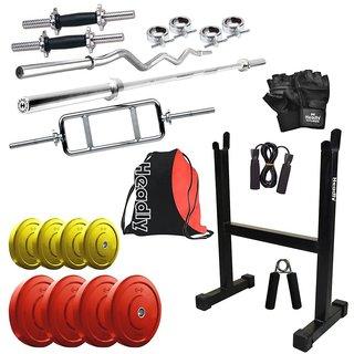 Buy headly premium 30kg coloured home gym 14 dumbbells 3 rods