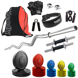Headly Premium 70 Kg Coloured Home Gym + 14 Dumbbells + Curl Rod + Gym Backpack Assorted + Gym Belt + Accessories