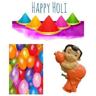 Holi Pichkari + Water Balloons + Herbal Gulal Combo