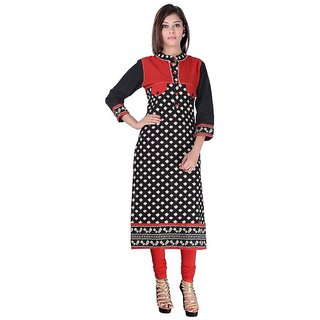 Red  Black Colour Printed  Printed kurtis for women