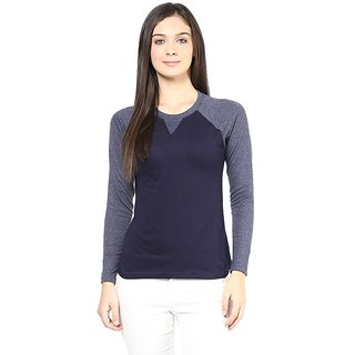 Hypernation Round Neck Navy Blue Body With Light Blue Sleeves Cotton T-shirt