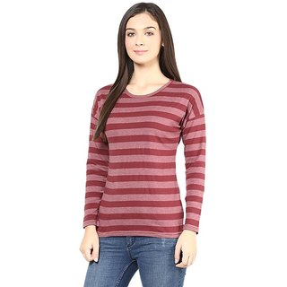 Hypernation Round Neck Maroon Stripe With Long Sleeves Cotton T-shirt