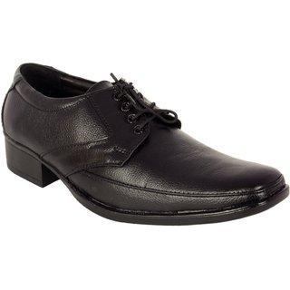 ShoeAdda Black Semi Formal Leather Shoe 3005