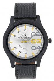 Swisstone White Dial Black Strap Analog Watch For Men/B