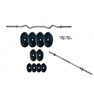 Gofitindia 155 Kg Rubber Weight Plates + 7 Feet Rods + 4 Feet Curl Bar + 2 Dumbbell Rods