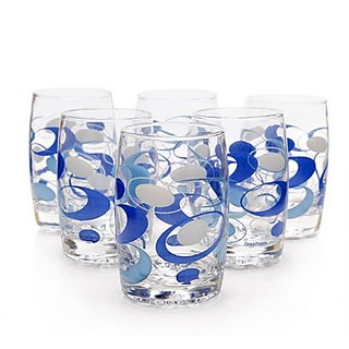 Green Apple Blue Arc Curved Glasses - Set of 12