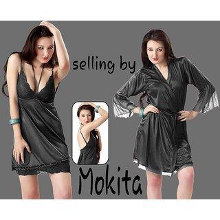 409c0aac0f Girls/Women Two Piece Sexy Nightwear (Nighty) -BLACK Free Size selling by  Mokita