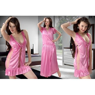 Girls Women Two Piece Sexy Nightwear (Nighty) -PINK- Free Size selling by  Mokita 25364200c