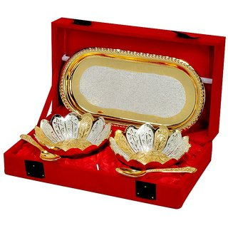 Royal Gold And Silver Plated Floral Shaped Brass Bowl And Tray Set Of 5 Pcs