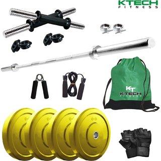 KTECH Premium 10 Kg Coloured Home Gym + 4 feet plain Rod (Shoulder/Bicep) + 14 Dumbbells + Gym Backpack + Accessories