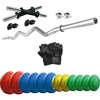 KTECH Premium 35 Kg Coloured Home Gym + 14 Dumbbells + Curl Rod + + Accessories