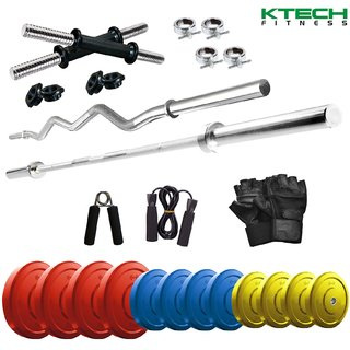 KTECH Premium 42 Kg Coloured Home Gym + 14 Dumbbells + 2 Rods + + Accessories