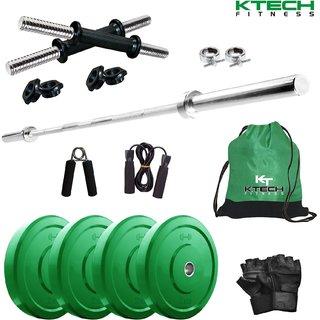 KTECH Premium 8 Kg Coloured Home Gym + 4 feet plain Rod (Shoulder/Bicep) + 14 Dumbbells + Gym Backpack + Accessories