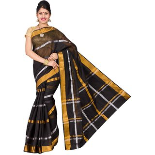 Korni Cotton Silk Banarasi Saree SHDEQ-400- Black KR0353