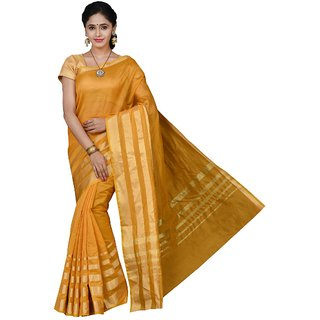 Korni Cotton Silk Banarasi Saree TF-1026- yellow KR0379