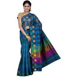 Korni Cotton Silk Banarasi Saree SS-342- Blue KR0384