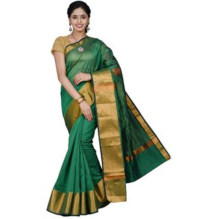 Korni Cotton Silk Banarasi Saree TF-1021- Green KR0393