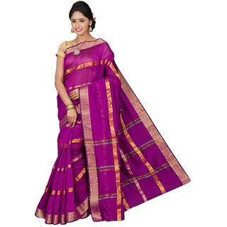 Korni Cotton Silk Banarasi Saree SHDEQ-800-Purple KR0375