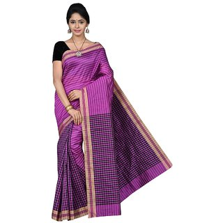 Korni Cotton Silk Banarasi Saree SHDEQ-701- Purple KR0398