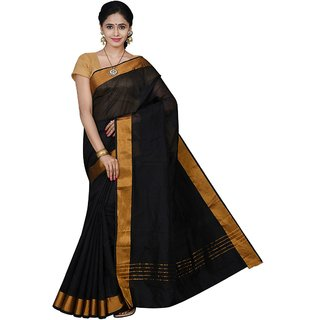 Korni Cotton Silk Banarasi Saree HM-1304- Black KR0391