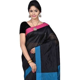 Korni Cotton Silk Banarasi Saree SHDEQ-305- BLK/BLUE KR0399