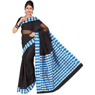 Korni Cotton Silk Banarasi Saree SHDEQ-106- Black/Blue KR0357