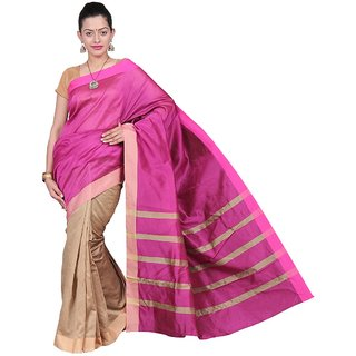 Korni Cotton Silk Banarasi Saree SHDEQ-310- Pink/Brown KR0412